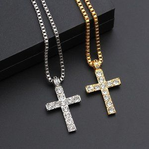 Jewelry - Cross Pendant Necklace Religious Iced Out crystal